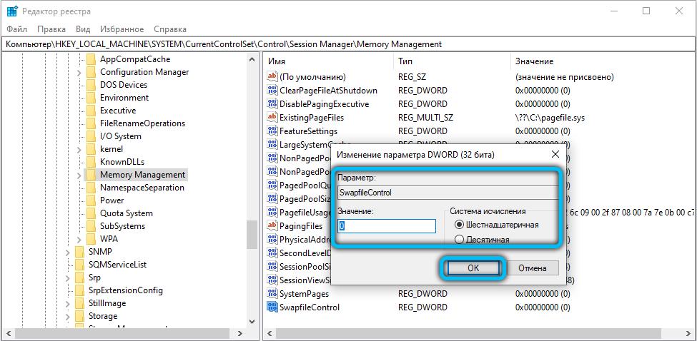Значение параметра SwapfileControl в реестре