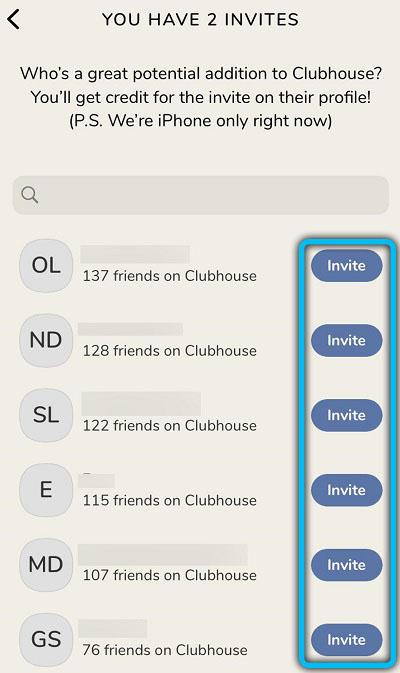 Кнопка «Invite» в Clubhouse