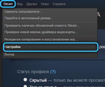 Переход к настройкам в Steam