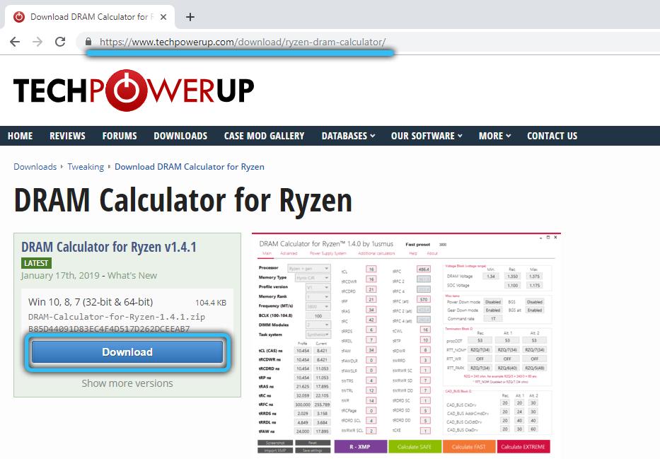 Скачивание RyzenDramCalculator