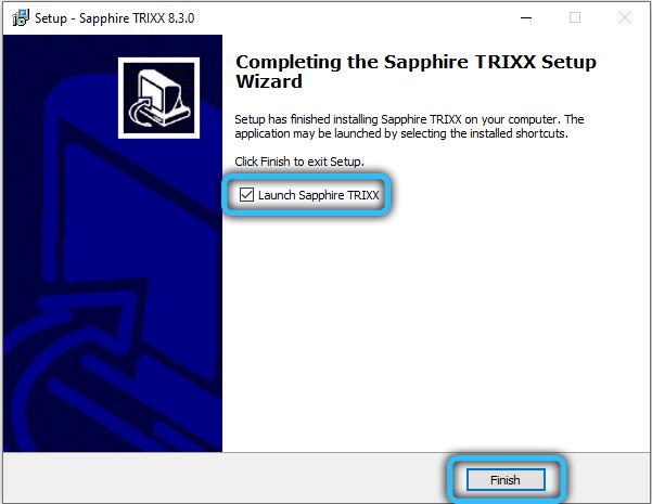 Завершение установки Sapphire TRIXX