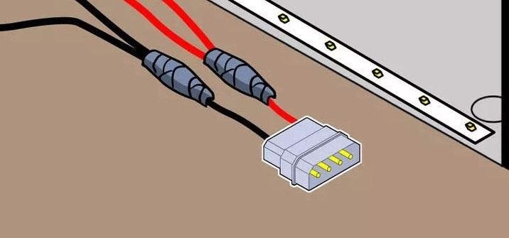 Подсоединение ленты к разъёму