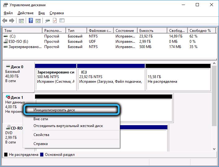 Пункт «Инициализировать диск» в Windows 10