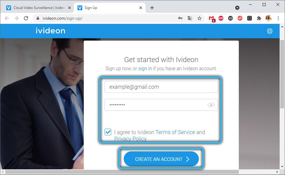 Ввод почты и пароля на ivideon