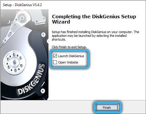 Завершение установки DiskGenius