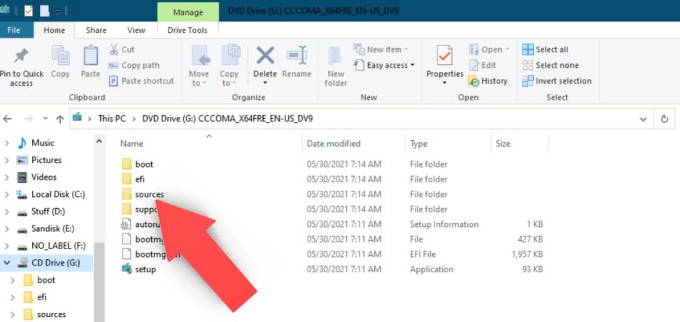 Папка sources в Windows 10 ISO