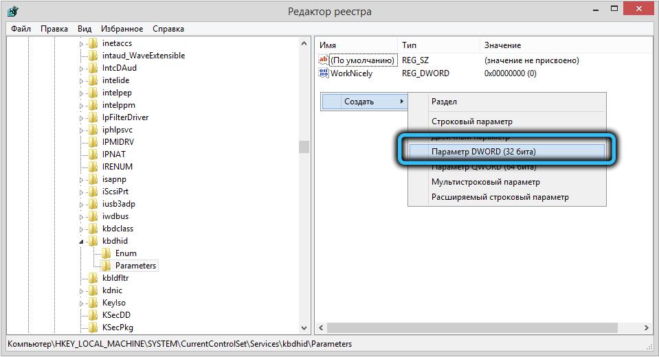 Параметр «Создать параметр DWORD» в папке Parameters