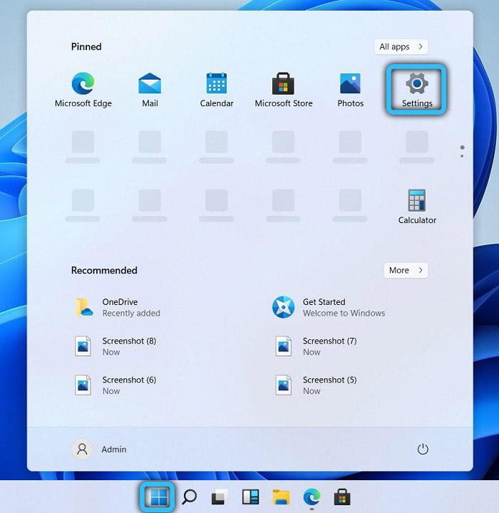 Переход в параметры в Windows 11