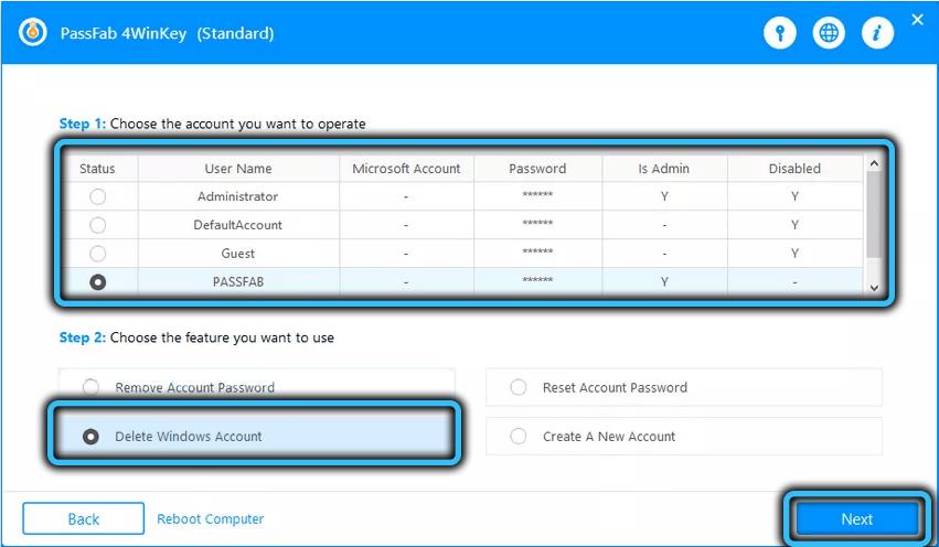 Пункт Delete Windows account в PassFab 4WinKey
