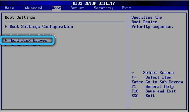 Пункт «Hard Disk Drives» в AMI BIOS