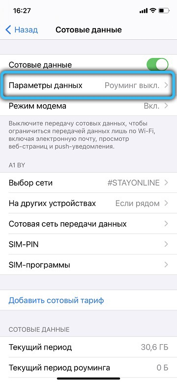 Пункт «Параметры данных» в iPhone