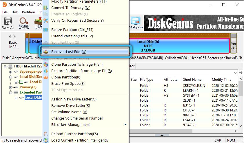 Пункт RecoverLostFiles в DiskGenius