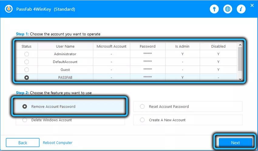 Пункт Remove Account password PassFab 4WinKey