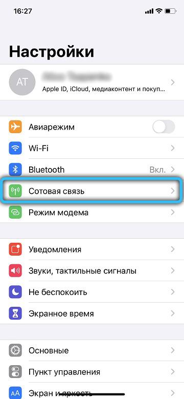 Пункт «Сотовые данные» в iPhone