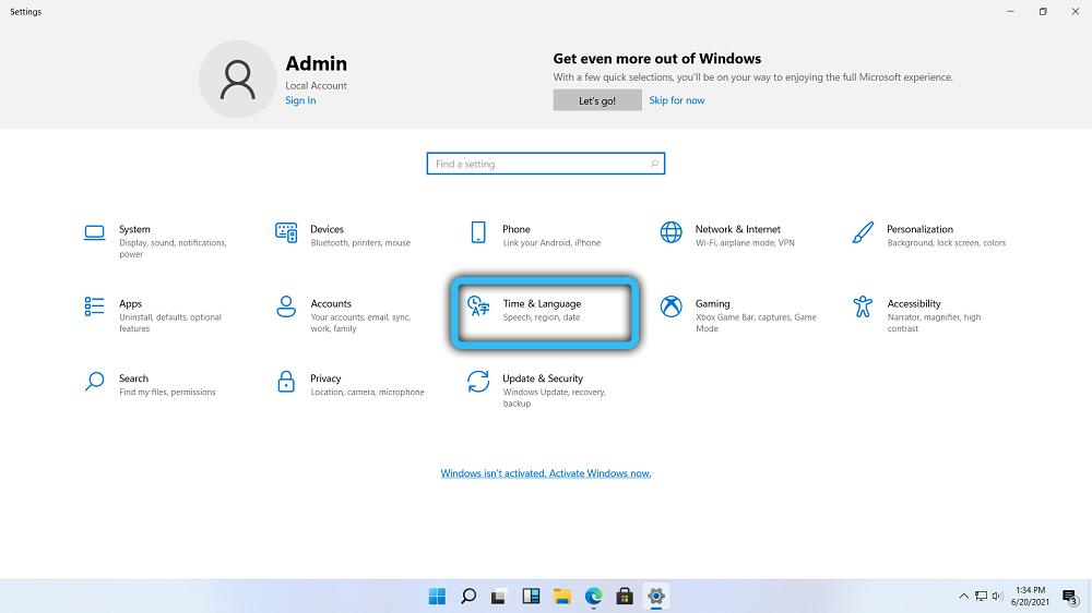Раздел «TimeandLanguage» в Windows 11