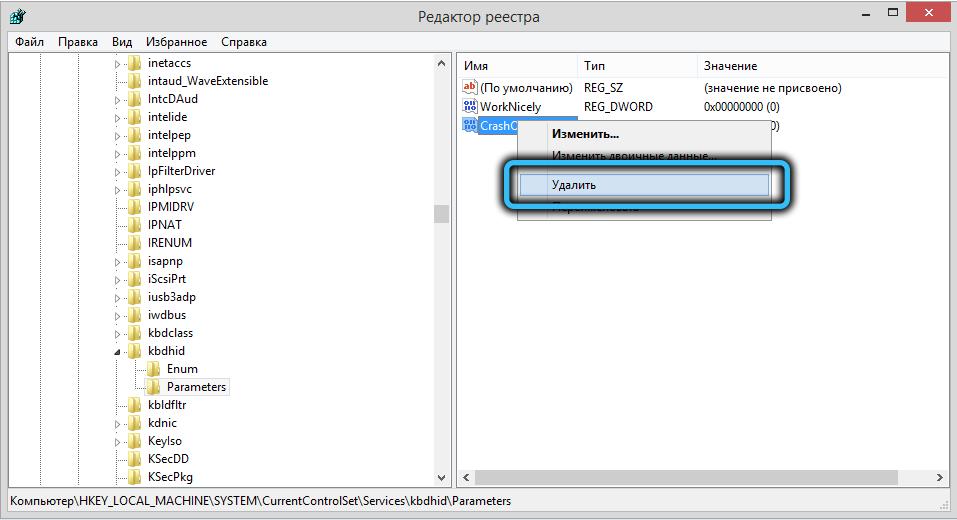 Удаление параметра CrashOnCtrlScroll
