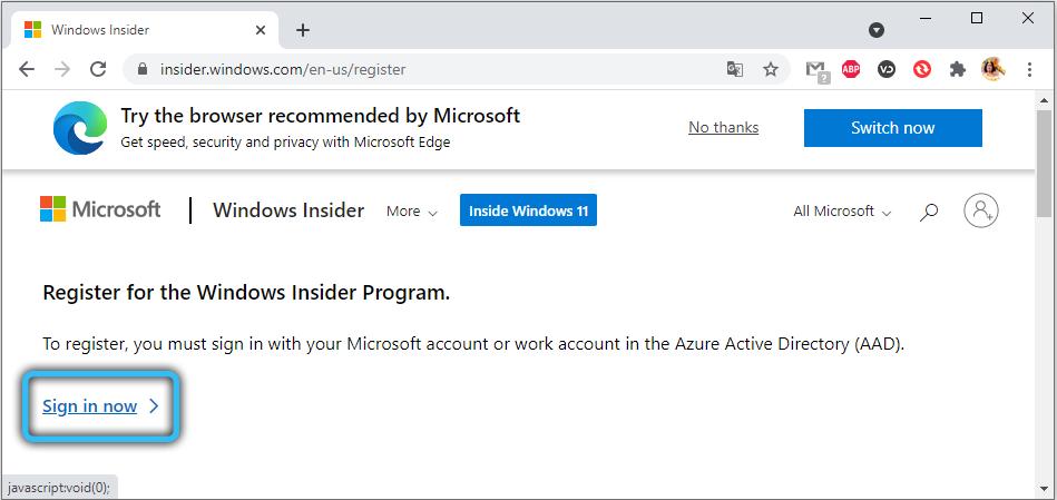 Вход в учётную запись для Windows Insider