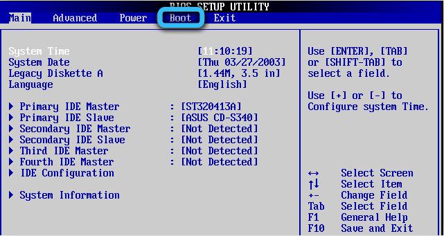 Вкладка Boot в AMI BIOS