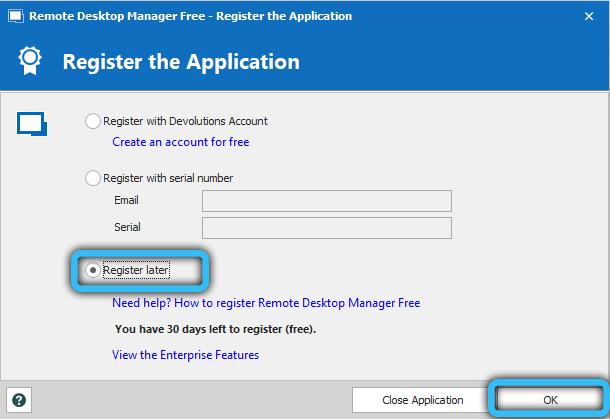 Пункт «Зарегистрироваться позже»