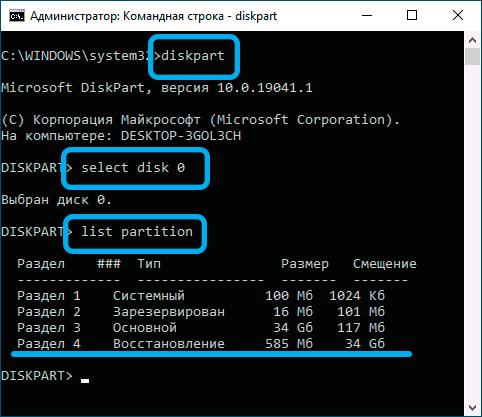 Команда list partition