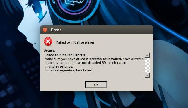 Ошибка FailedtoinitializeDirect3D
