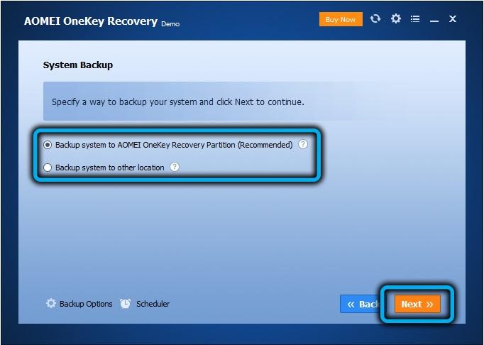 Параметры создания диска восстановления в AOMEIOneKey Recovery