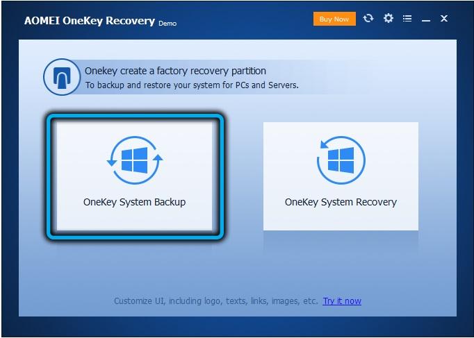 Создание диска восстановления в AOMEIOneKey Recovery