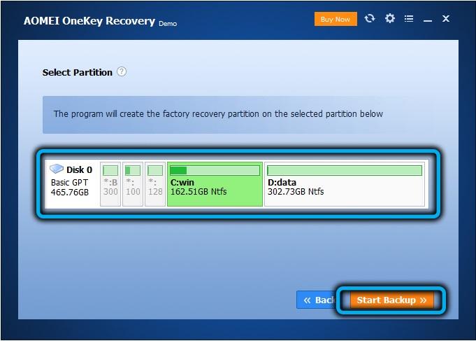 Выбор раздела для создания диска восстановления в AOMEIOneKey Recovery
