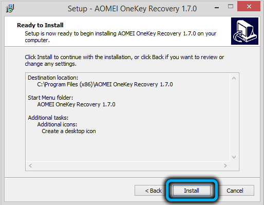 Запуск установки AOMEIOneKey Recovery