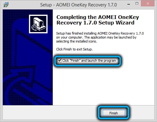 Завершение установки AOMEIOneKey Recovery