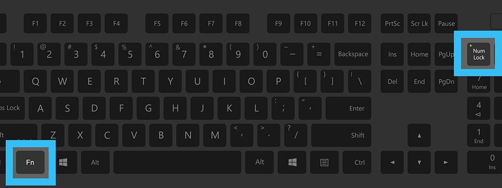 Клавиши Fn+NumLock