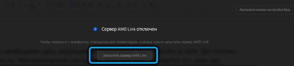 Кнопка «Запустить сервер AMD Link» в AMD Link