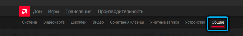 Вкладка «Общие» в AMD Link