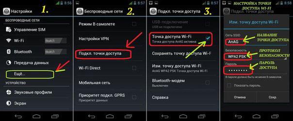 Телефон Андроид как точка доступа