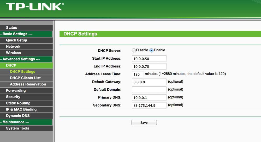 Включение DHCP на роутере