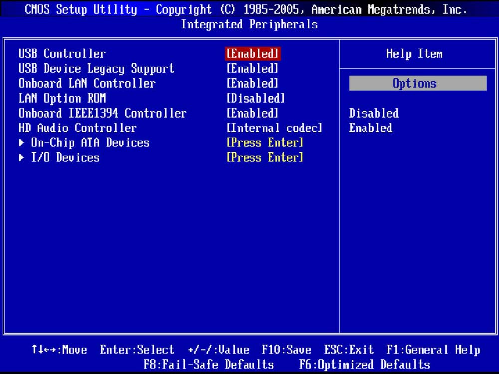Отображение LAN-оборудования в Биос