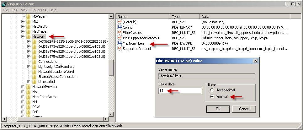 Редактирование параметров реестра