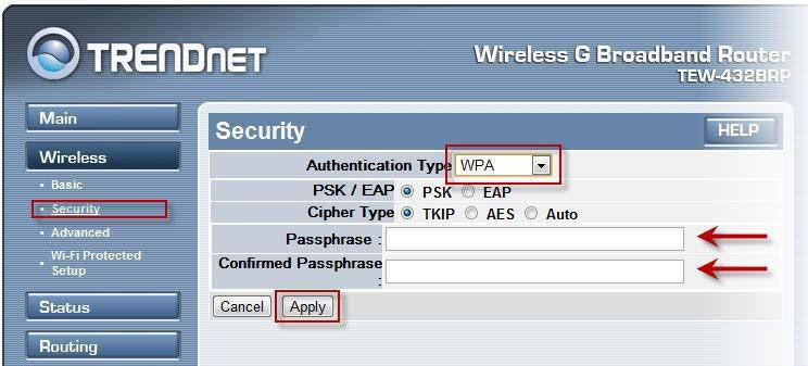Параметры безопасности Wi-Fi