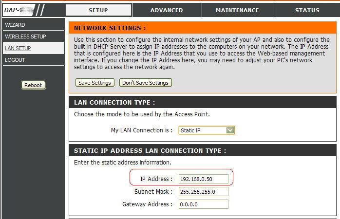 Присвоение статического IP-адреса