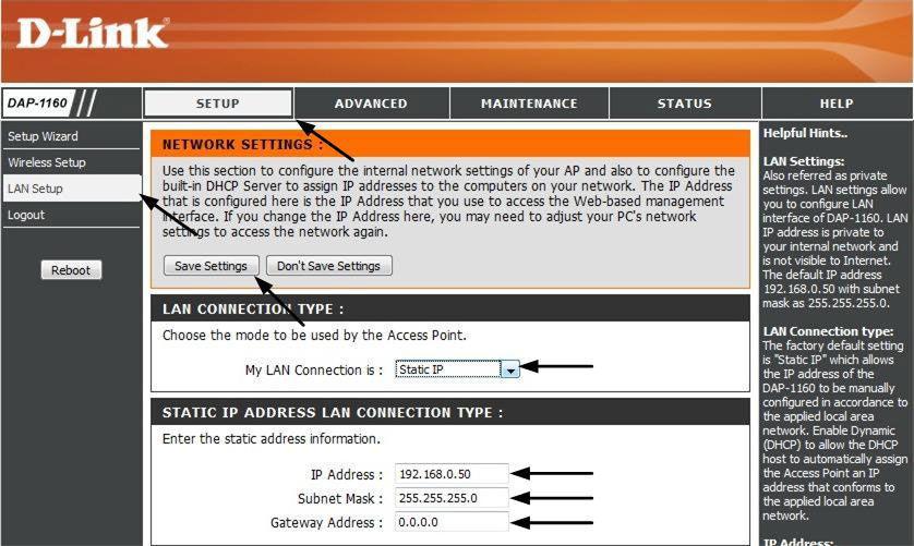 Статический IP-адрес точки доступа