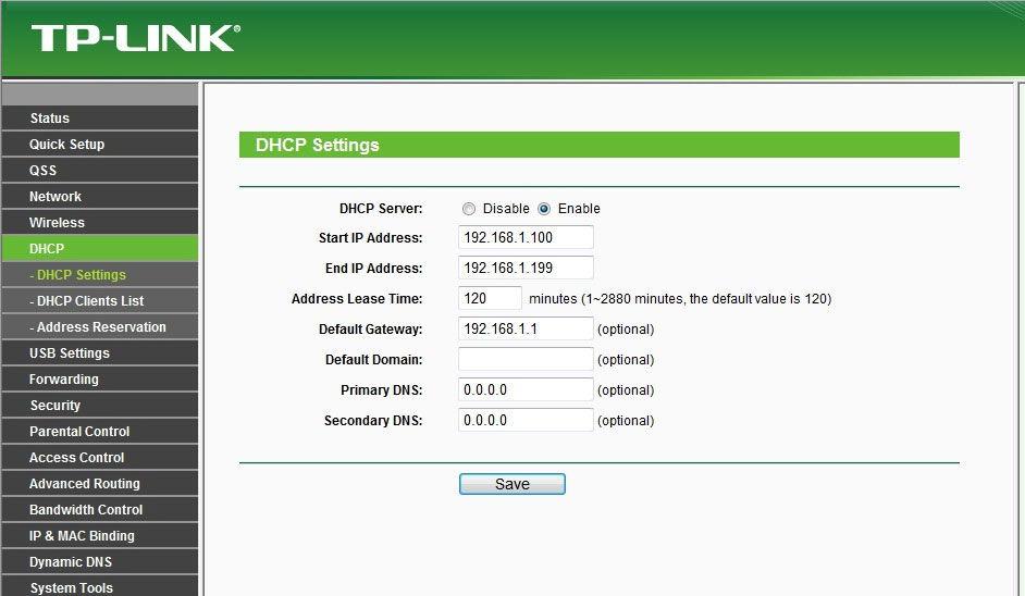 Активация DNCP на маршрутизаторе