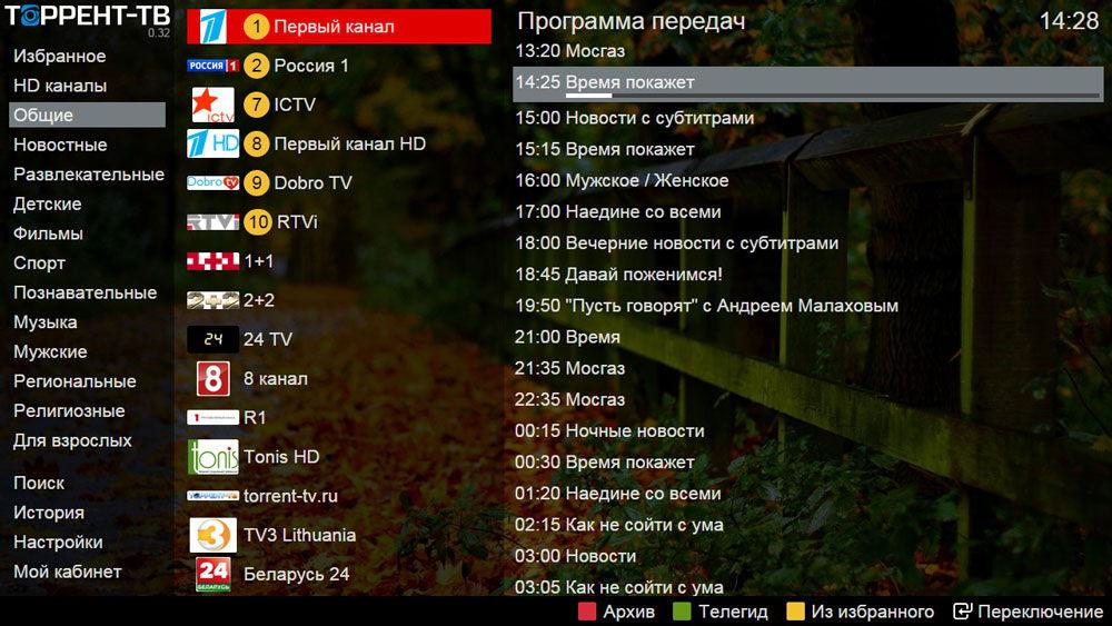 Плейлист каналов в Торрент ТВ