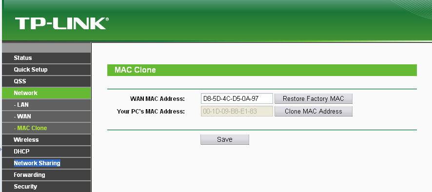 Вкладка клонирования MAC-адреса