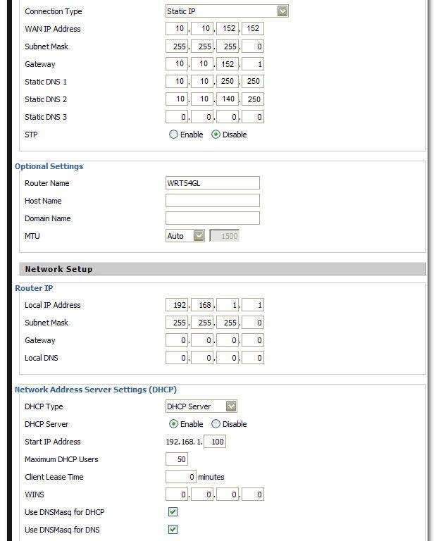 Параметры статического IP-адреса