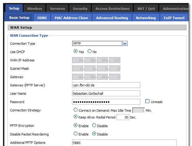 Настройка интернета через VPN (PPTP)