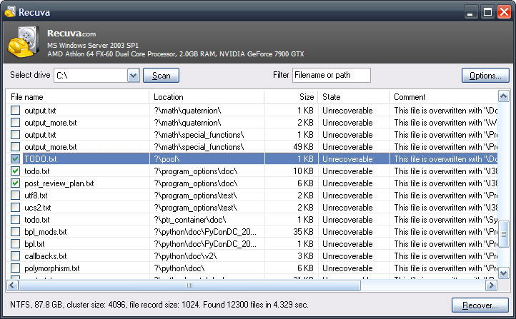 Поиск удалённых файлов с помощью Recuva