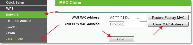 Клонирование MAC-адреса на роутере