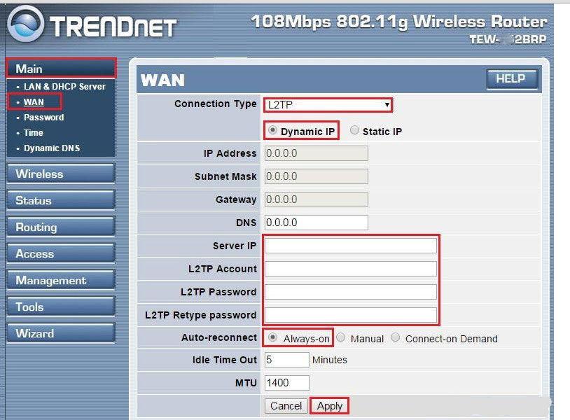 L2TP-соединение с динамическим IP