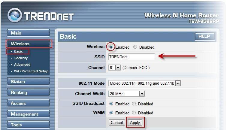 Активация Wi-Fi доступа