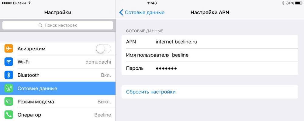 Настройка связи с провайдером Beeline
